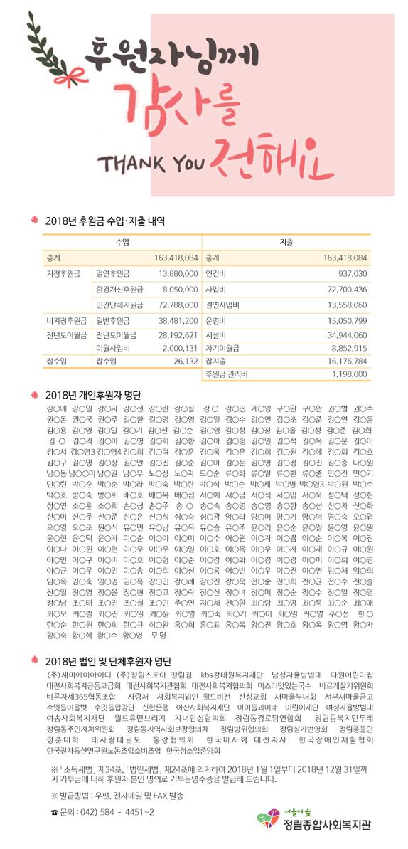2018년 후원금 수입 및 사용 결과 보고