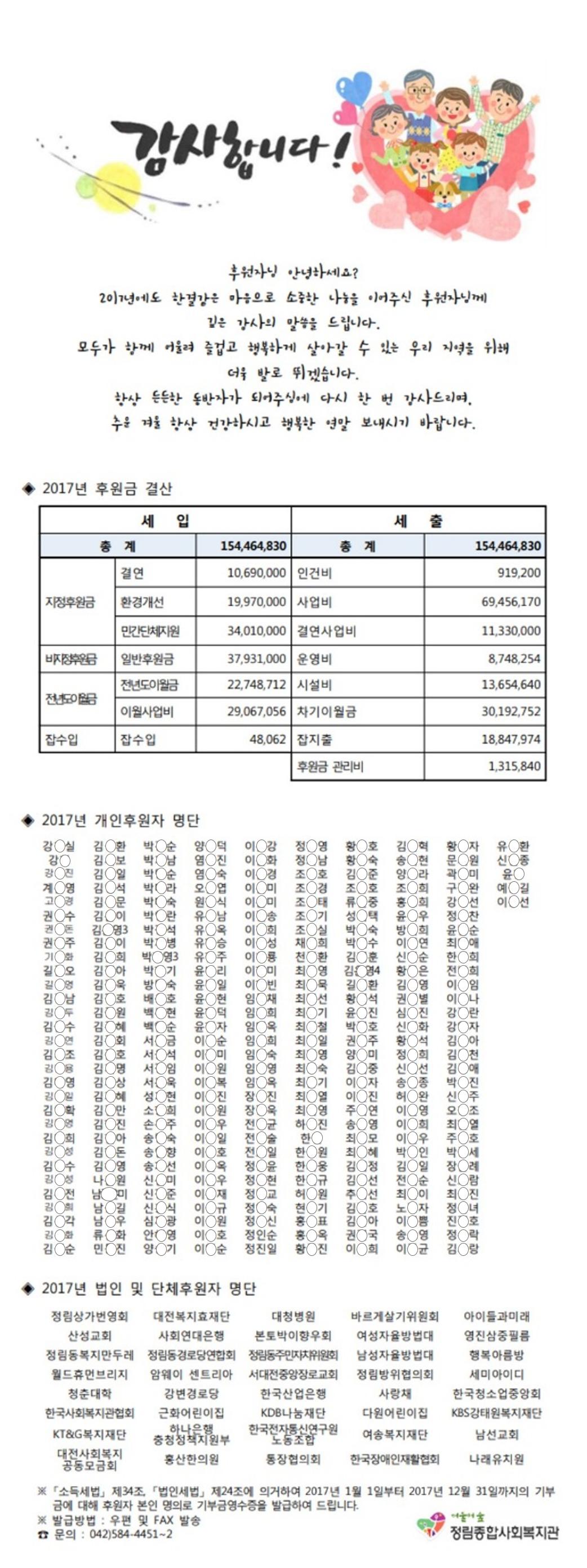 2017 후원금 수입 및 사용 결과 보고